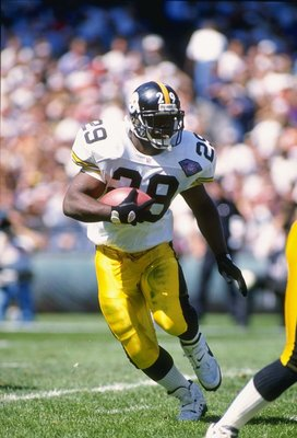 11 Sep 1994:  Running back Barry Foster of the Pittsburgh Steelers moves the ball during a game against the Cleveland Browns at Cleveland Stadium in Cleveland, Ohio.  The Steelers won the game, 17-10. Mandatory Credit: Rick Stewart  /Allsport