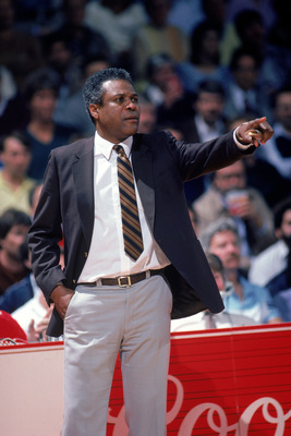 UNDATED:  Head coach K.C. Jones of the Boston Celtics points during a NBA season game.  K.C. Jones was the head coach of the Boston Celtics from 1983-1988.  (Photo by Rick Stewart/Getty Images)