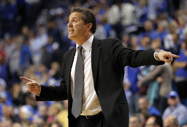 LEXINGTON, KY - DECEMBER 11:  John Calipari the Head Coach of the Kentucky Wildcats gives instructions to his team during the 81-62 victory over the Indiana Hoosiers on December 11, 2010 in Lexington, Kentucky.  (Photo by Andy Lyons/Getty Images)