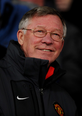 MANCHESTER, ENGLAND - DECEMBER 07:  Manchester United Manager Sir Alex Ferguson looks on prior to the UEFA Champions League Group C match between Manchester United and Valencia at Old Trafford on December 7, 2010 in Manchester, England.  (Photo by Clive M