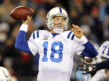 NASHVILLE, TN - DECEMBER 09:  Peyton Manning #18 of the Indianapolis Colts throws a pass during the NFL game against the Tennessee Titans  at LP Field on December 9, 2010 in Nashville, Tennessee.  The Colts won 30-28. (Photo by Andy Lyons/Getty Images)