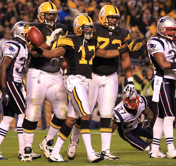 PITTSBURGH - NOVEMBER 14:  Mike Wallace #17 of the Pittsburgh Steelers appeals to the referee after his touchdown was disallowed against the New England Patriots on November 14, 2010 at Heinz Field in Pittsburgh, Pennsylvania.  (Photo by Chris McGrath/Get