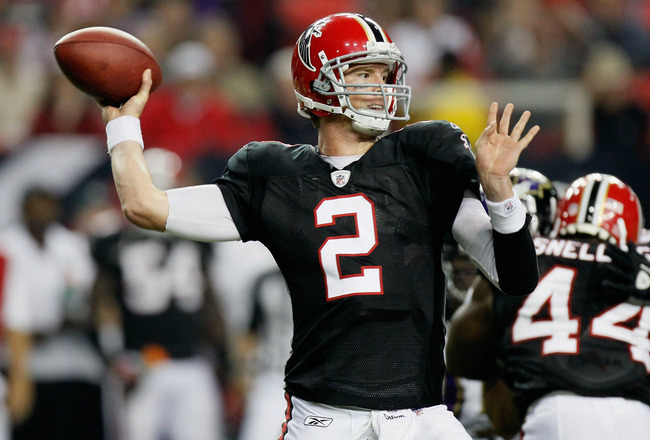 ATLANTA - NOVEMBER 11:  Quarterback Matt Ryan #2 of the Atlanta Falcons against the Baltimore Ravens at Georgia Dome on November 11, 2010 in Atlanta, Georgia.  (Photo by Kevin C. Cox/Getty Images)