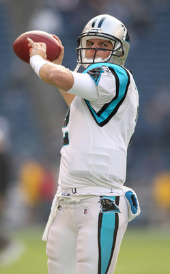 SEATTLE - DECEMBER 05:  Quarterback Jimmy Clausen #2 of the Carolina Panthers passes during warmups prior to the game against the Seattle Seahawks at Qwest Field on December 5, 2010 in Seattle, Washington. The Seahawks won, 31-14. (Photo by Otto Greule Jr