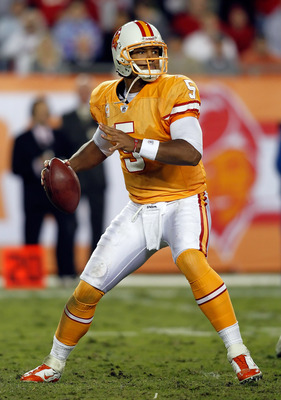 TAMPA, FL - DECEMBER 05:  Quarterback Josh Freeman #5 of the Tampa Bay Buccaneers throws a pass against the Atlanta Falcons during the game at Raymond James Stadium on December 5, 2010 in Tampa, Florida.  (Photo by J. Meric/Getty Images)