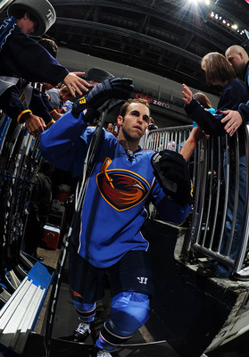 ATLANTA - SEPTEMBER 25: Andrew Ladd #16 of the Atlanta Thrashers heads to the ice against the Carolina Hurricanes at Philips Arena on September 25, 2010 in Atlanta, Georgia. The Hurricanes won 1-0. (Photo by Scott Cunningham/Getty Images)