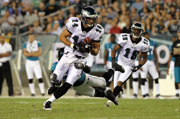 PHILADELPHIA - AUGUST 13: Riley Cooper #14 of the Philadelphia Eagles is tackled by William Middleton #29 of the Jacksonville Jaguars during their preseason game at Lincoln Financial Field on August 13, 2010 in Philadelphia, Pennsylvania.  (Photo by Nick