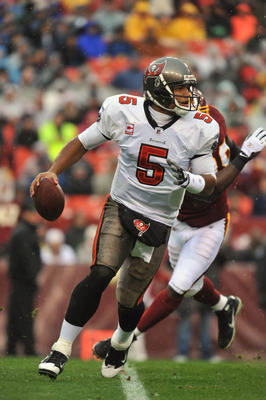 LANDOVER, MD - DECEMBER 12:  Josh Freeman #5 of the Tampa Bay Buccaneers looks for a receiver during the game against the Washington Redskins  at FedExField on December 12, 2010 in Landover, Maryland. The Buccaneers defeated the Redskins 17-16. (Photo by