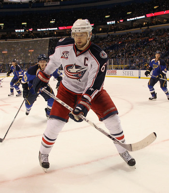 ST LOUIS, MO - DECEMBER 09:  Rick Nash #61 of the Columbus Blue Jackets skates against the St. Louis Blues at the Scottrade Center on December 9, 2010 in St Louis, Missouri. The Blues defeated The Blue Jackets 4-1.  (Photo by Bruce Bennett/Getty Images)