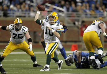 DETROIT, MI - DECEMBER 12:  Matt Flynn #10 of the Green Bay Packers throws a fourth quarter pass while playing the Detroit Lions on December 12, 2010 at Ford Field in Detroit, Michigan.  (Photo by Gregory Shamus/Getty Images)