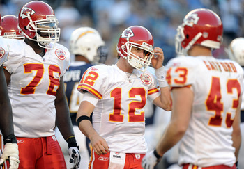 SAN DIEGO, CA - DECEMBER 12:  Brodie Croyle #12 and Branden Albert #76 of the Kansas City Chiefs react after a failed third down attempt against the San Diego Chargers during the fourth quarter at Qualcomm Stadium on December 12, 2010 in San Diego, Califo