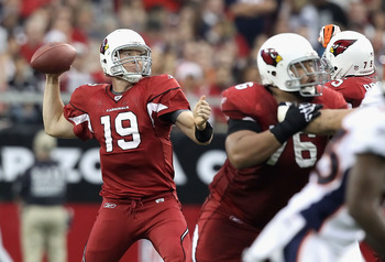 GLENDALE, AZ - DECEMBER 12:  Quarterback John Skelton #19 of the Arizona Cardinals throws the football during the NFL game against the Denver Broncos at the University of Phoenix Stadium on December 12, 2010 in Glendale, Arizona. The Cardinals defeated th