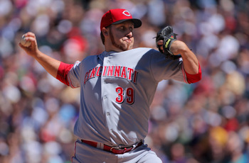 DENVER - SEPTEMBER 06:  Starting pitcher Aaron Harang #39 of the Cincinnati Reds delivers against the Colorado Rockies at Coors Field on September 6, 2010 in Denver, Colorado.  (Photo by Doug Pensinger/Getty Images)