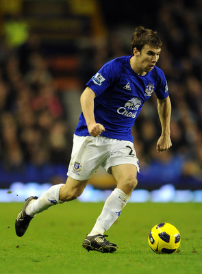 LIVERPOOL, ENGLAND - DECEMBER 11:  Seamus Coleman of Everton in action during the Barclays Premier League match between Everton and Wigan Athletic at Goodison Park on December 11, 2010 in Liverpool, England.  (Photo by Chris Brunskill/Getty Images)