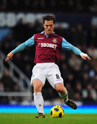 LONDON, UNITED KINGDOM - DECEMBER 11:  Scott Parker of West Ham United in action during the Barclays Premier League match between West Ham United and Manchester City at Upton Park on December 11, 2010 in London, England.  (Photo by Shaun Botterill/Getty I