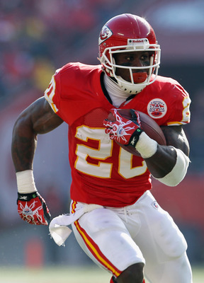 KANSAS CITY, MO - DECEMBER 05:  Thomas Jones #20 of the Kansas City Chiefs in action during the game against the Denver Broncos on December 5, 2010 at Arrowhead Stadium in Kansas City, Missouri.  (Photo by Jamie Squire/Getty Images)