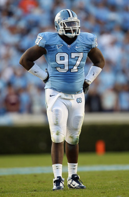 CHAPEL HILL, NC - NOVEMBER 13:  Jared McAdoo #97 of the North Carolina Tar Heels against the Virginia Tech Hokies during their game at Kenan Stadium on November 13, 2010 in Chapel Hill, North Carolina.  (Photo by Streeter Lecka/Getty Images)