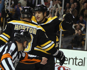 BOSTON - NOVEMBER 18: Milan Lucic #17 of the Boston Bruins is congratulated by teammate Nathan Horton #18 after Lucic scored a hat trick in the third period against the Florida Panthers on November 18, 2010 at the TD Garden in Boston, Massachusetts. The B