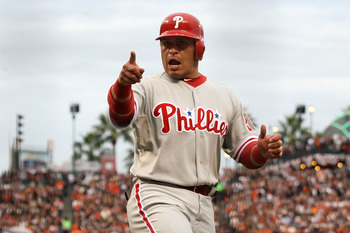 SAN FRANCISCO - OCTOBER 21:  Carlos Ruiz #51 of the Philadelphia Phillies reacts after scoring in the third inning against the San Francisco Giants in Game Five of the NLCS during the 2010 MLB Playoffs at AT&T Park on October 21, 2010 in San Francisco, Ca