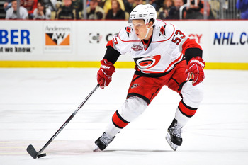 PITTSBURGH - NOVEMBER 19:  Jeff Skinner #53 of the Carolina Hurricanes skates with the puck against the Pittsburgh Penguins on November 19, 2010 at Consol Energy Center in Pittsburgh, Pennsylvania.  (Photo by Jamie Sabau/Getty Images)