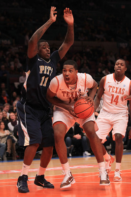 NEW YORK - NOVEMBER 19: Tristan Thompson #13 of the Texas Longhorns fakes out Dante Taylor #11  of the Pittsburgh Panthers during the Championship game of the 2k Sports Classic at Madison Square Garden on November 19, 2010 in New York, New York.  (Photo b