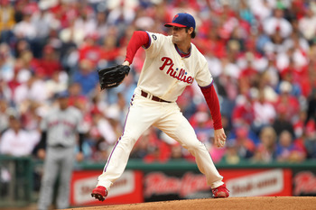 PHILADELPHIA - SEPTEMBER 26: Starting pitcher Cole Hamels #35 of the Philadelphia Phillies throws a pitch during a game against the New York Mets at Citizens Bank Park on September 26, 2010 in Philadelphia, Pennsylvania. (Photo by Hunter Martin/Getty Imag