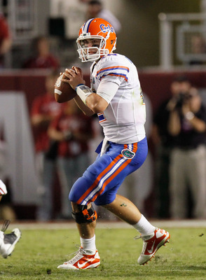 TUSCALOOSA, AL - OCTOBER 02:  Quarterback John Brantley #12 of the Florida Gators against the Alabama Crimson Tide at Bryant-Denny Stadium on October 2, 2010 in Tuscaloosa, Alabama.  (Photo by Kevin C. Cox/Getty Images)