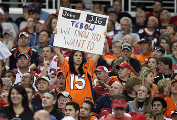GLENDALE, AZ - DECEMBER 12:  A fan of the Denver Broncos holds up a sign for quarterback Tim Tebow #15 during the NFL game against the Arizona Cardinals at the University of Phoenix Stadium on December 12, 2010 in Glendale, Arizona.  The Cardinals defeate