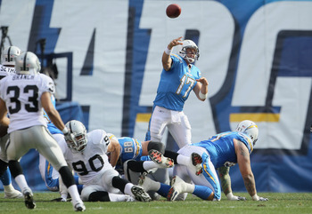 SAN DIEGO - DECEMBER 05:  Quarterback Philip Rivers #17 of the San Diego Chargers drops back to pass against the Oakland Raiders at Qualcomm Stadium on December 5, 2010 in San Diego, California. The Raiders defeated the Chargers 28-13.  (Photo by Jeff Gro