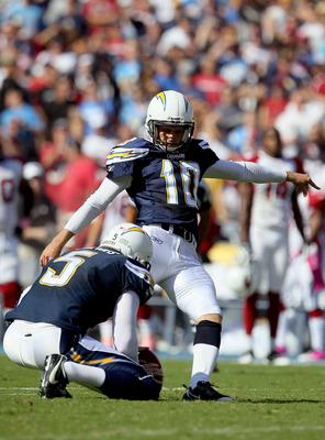 SAN DIEGO - OCTOBER 03:  Nate Kaeding #10 of the San Diego Chargers kicks the ball from Mike Scifres #5 during the game against the Arizona Cardinals at Qualcomm Stadium on October 3, 2010 in San Diego, California.  (Photo by Jeff Gross/Getty Images)