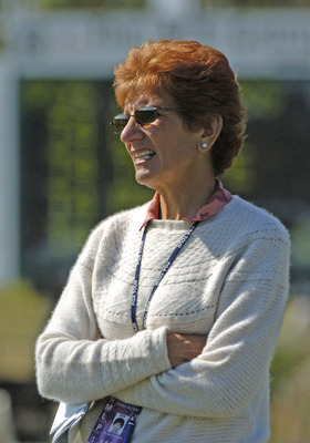 UNITED STATES - FEBRUARY 19:  Golf Channel commentator Donna Caponi watches play during the second round of the PGA Champions Tour ACE Classic, February 19, 2005 in Naples, Florida.  (Photo by Al Messerschmidt/Getty Images)