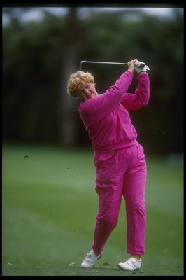25 Mar 1993:  Joanne Carner watches the ball fly during the Nabisco Dinah Shore event at Mission Hills Country Club in Rancho Mirage, California. Mandatory Credit: Stephen Dunn  /Allsport