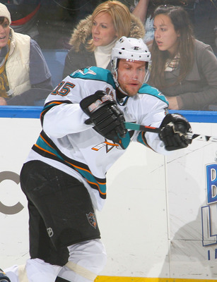 BUFFALO, NY - DECEMBER 09: Dany Heatley #15 of the San Jose Sharks skates against  the Buffalo Sabres  at HSBC Arena on December 9, 2010 in Buffalo, New York. Buffalo won 6-3.  (Photo by Rick Stewart/Getty Images)