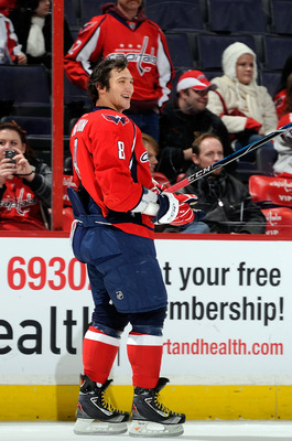 WASHINGTON, DC - DECEMBER 15:  Alex Ovechkin #8 of the Washington Capitals warms up before the game against the Anaheim Ducks at the Verizon Center on December 15, 2010 in Washington, DC.  (Photo by Greg Fiume/Getty Images)