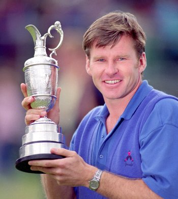 19 Jul 1992:  Nick Faldo of England holds aloft the Claret Jug after winning the British Open played at Muirfield in Scotland. \ Mandatory Credit: Stephen Munday /Allsport