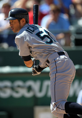 ARLINGTON, TX - SEPTEMBER 29:  Ichiro Suzuki #51 of the Seattle Mariners at bat against the Texas Rangers at Rangers Ballpark in Arlington on September 29, 2010 in Arlington, Texas.  (Photo by Ronald Martinez/Getty Images)