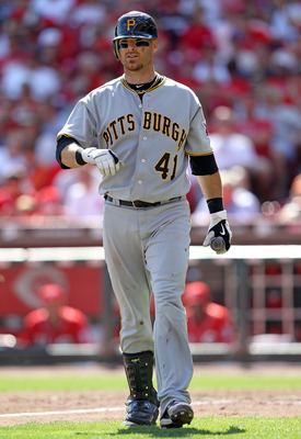 CINCINNATI - SEPTEMBER 12:  Ryan Doumit #41 of the Pittsburgh Pirates is pictured during the game against the Cincinnati Reds at Great American Ballpark on September 12, 2010 in Cincinnati, Ohio.  (Photo by Andy Lyons/Getty Images)