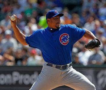 CHICAGO - JUNE 25: Starting pitcher Carlos Zambrano #38 of the Chicago Cubs throws the ball in the 1st inning against the Chicago White Sox at U.S. Cellular Field on June 25, 2010 in Chicago, Illinois. Zambrano was suspended indefinitely by the Cubs for a