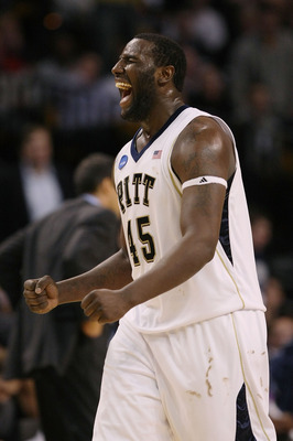 BOSTON - MARCH 28:  DeJuan Blair #45 of the Pittsburgh Panthers shouts during their game against the Villanova Wildcats during the NCAA Men's Basketball Tournament East Regionals at TD Banknorth Garden on March 28, 2009 in Boston, Massachusetts.  (Photo b