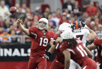 GLENDALE, AZ - DECEMBER 12:  Quarterback John Skelton #19 of the Arizona Cardinals throws a pass during the NFL game against the Denver Broncos at the University of Phoenix Stadium on December 12, 2010 in Glendale, Arizona. The Cardinals defeated the Bron