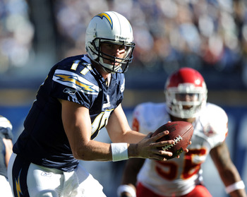SAN DIEGO, CA - DECEMBER 12:  Philip Rivers #17 of the San Diego Chargers prepares to handoff during the game against the Kansas City Chiefs at Qualcomm Stadium on December 12, 2010 in San Diego, California.  (Photo by Harry How/Getty Images)