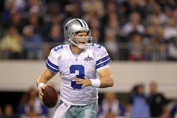 ARLINGTON, TX - DECEMBER 12:  Quarterback Jon Kitna #3 of the Dallas Cowboys drops back to pass against the Philadelphia Eagles at Cowboys Stadium on December 12, 2010 in Arlington, Texas.  (Photo by Ronald Martinez/Getty Images)