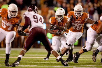 AUSTIN, TX - NOVEMBER 25:  University of Texas during the first half at Darrell K. Royal-Texas Memorial Stadium on November 25, 2010 in Austin, Texas. (Photo by Darren Carroll/Getty Images)