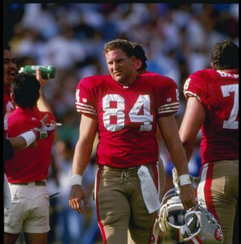 28 Nov 1993:  Tight end Brent Jones of the San Francisco 49ers looks on during a game against the Los Angeles Rams at Candlestick Park in San Francisco, California.  The 49ers won the game, 35-7. Mandatory Credit: Stephen Dunn  /Allsport