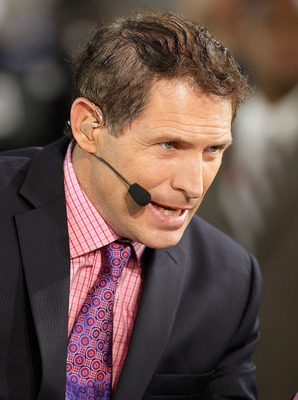 JACKSONVILLE, FL - OCTOBER 18:  Monday Night Football Analyst Steve Young talks just prior to the start of the game between the Jacksonville Jaguars and the Tennessee Titans at EverBank Field on October 18, 2010 in Jacksonville, Florida.  (Photo by J. Mer