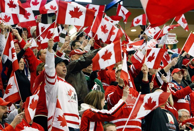 SASKATOON, SK - JANUARY 5:  Fans support Team Canada prior to  the 2010 IIHF World Junior Championship Tournament Gold Medal game against Team USA on January 5, 2010 at the Credit Union Centre in Saskatoon, Saskatchewan, Canada.  Team USA defeated Team Ca