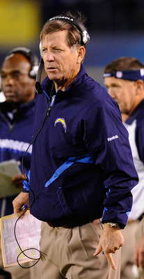SAN DIEGO - NOVEMBER 22: Norv Turner head coach of the San Diego Chargers during the NFL football game against Denver Broncos at Qualcomm Stadium on November 22, 2010 in San Diego, California.  Chargers won, 35-14. (Photo by Kevork Djansezian/Getty Images