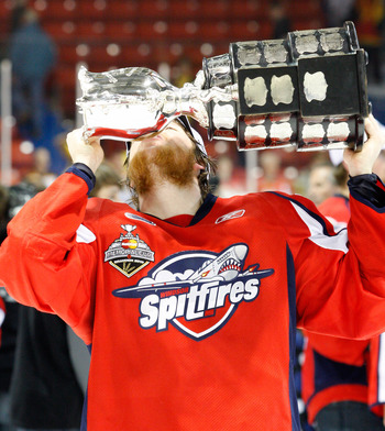 BRANDON, CANADA - MAY 23: Ryan Ellis #6 of the Windsor Spitfires kisses the Memorial Cup after defeating the Brandon Wheat Kings in the Final of the 2010 Mastercard Memorial Cup Tournament at the Keystone Centre on May 23, 2010 in Brandon, Manitoba, Canad