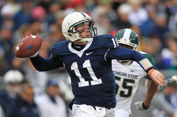 STATE COLLEGE, PA - NOVEMBER 27: Quarterback Matt McGloin #11 of the Penn State Nittany Lions throws a pass during a game against the Michigan State Spartans on November 27, 2010 at Beaver Stadium in State College, Pennsylvania. (Photo by Hunter Martin/Ge