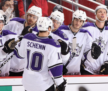 GLENDALE, AZ - OCTOBER 21:  Brayden Schenn #10 of the Los Angeles Kings celebrates with teammates on the bench during the NHL game against the Phoenix Coyotes at Jobing.com Arena on October 21, 2010 in Glendale, Arizona. The Coyotes defeated the Kings 4-2